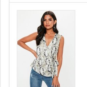 Misguided snakeskin wrap top